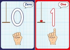 Learning the numbers 0-10, Flash Cards, educational preschool activities. Worksheets for kids Stock Images
