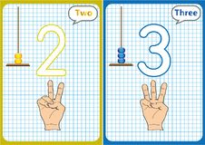Learning the numbers 0-10, Flash Cards, educational preschool activities. Worksheets for kids Royalty Free Stock Photography