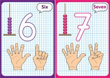 Learning the numbers 0-10, Flash Cards, educational preschool activities. Worksheets for kids Royalty Free Stock Images