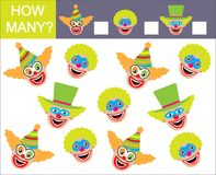 Learning numbers, mathematics. How many faces of clowns. Game fo. R children Royalty Free Stock Images