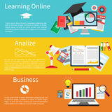 Learning online, analize and business vector illustration