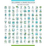 Education icons big set. Learning and online education icons set. Modern icons on theme knowledge, scince, teaching, school and university. Flat line design royalty free illustration