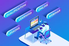 Learning Online Vector Working Man. Learning online concept or working online concept with learning sitting man, blue conceptual isometric infographic, vector Royalty Free Stock Photos