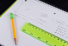 Learning Physics. On Graph Paper Royalty Free Stock Photo
