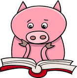 Learning piglet cartoon illustration Stock Images