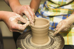 Learning pottery Royalty Free Stock Photos