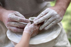 Learning pottery Royalty Free Stock Images