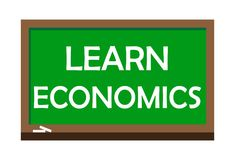 Learn economics write on green board. Vector illustration. Learning is the process of acquiring new or modifying existing knowledge, behaviors, skills, values Royalty Free Stock Photography