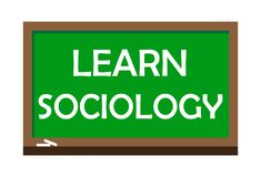 Learn sociology write on green board. Vector illustration. Learning is the process of acquiring new or modifying existing knowledge, behaviors, skills, values Stock Photography