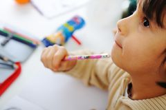 Learning process, cute child Stock Image