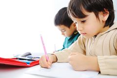 Learning process, cute children Royalty Free Stock Image
