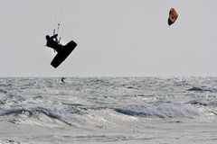 Kitesurfer silhouette jump Royalty Free Stock Photo