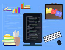 Learning Programming and coding concept, website development, Web Design. Flat Illustration Royalty Free Stock Photo