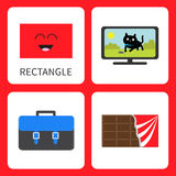 Learning rectangle form shape. Smiling face. Cute cartoon character. TV set with cat, school briefcase, chocolate bar wrapping pap Royalty Free Stock Images