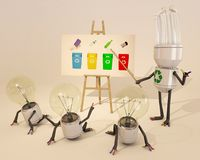 Learning About Recycling. Bulb character learning about recycling Royalty Free Stock Images