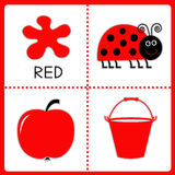 Learning red color. Ladybug, apple and bucket. Educational cards Royalty Free Stock Photos
