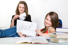 Learning schoolgirl Stock Images