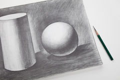 Learning Sketching. Black and white sketching, concept of learning Royalty Free Stock Photography