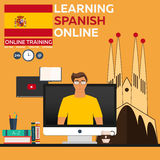 Learning Spanish Online. Online training. Distance education. Online education. Language courses, foreign language, language tutor vector illustration