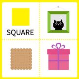 Learning square form. Frame picture, gift box and biscuit. Educational cards for kids. Flat design. Royalty Free Stock Photography