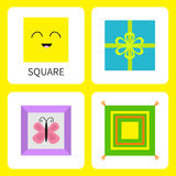 Learning square form shape. Smiling face. Cute cartoon character Frame picture butterfly, gift box bow, pillow set. Educational ca Royalty Free Stock Image