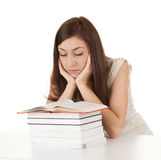Learning student girl with books Royalty Free Stock Photos