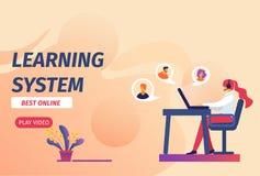 Learning System Best Online Horizontal Banner. vector illustration