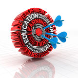 Learning target. 3d render of a target formed by words related to education Stock Image