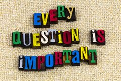 Every question is important education. Learning teaching every question is important no dumb questions school business training children students asking stock photography