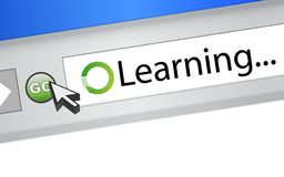 Learning text on computer screen browser Stock Image