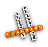 Learning - theory and practice. Crossword puzzle Stock Photos