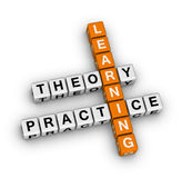 Learning - theory and practice. (orange-white crossword puzzles series Royalty Free Stock Photo