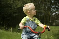Learning to bike. Child learning to drive a bike royalty free stock image