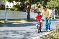Learning to bike Royalty Free Stock Image