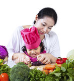 Learning to cook Royalty Free Stock Photos