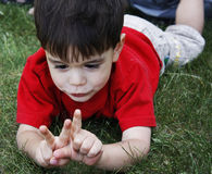 Learning to Count. A small boy holding up three fingers and pondering them while laying on his tummy in the grass Royalty Free Stock Photo