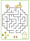 Illustration of logical education for children of preschool age. Funny maze game. Stock Photo