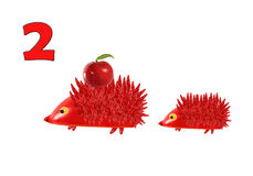 Learning to count. Cartoon figures of vegetables and fruits, as Royalty Free Stock Photos