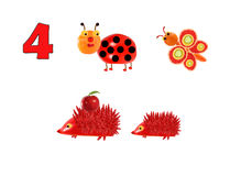 Learning to count. Cartoon figures of vegetables and fruits, as Stock Image
