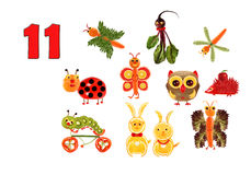 Learning to count. Cartoon figures of vegetables and fruits, as Royalty Free Stock Photography