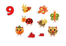 Learning to count. Cartoon figures of vegetables and fruits, as Royalty Free Stock Image