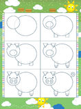 Learning to draw - illustration for the children royalty free illustration