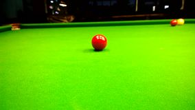 Learning to play Billiards. After the collision with the object ball the ball rolled back. Learning to play Billiards. After the collision with the object ball stock video