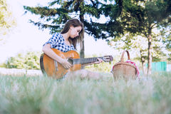 Learning to play guitar royalty free stock images