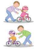 Learning to ride a bike. Hand drawn picture of child learning to ride a bicycle. Illustrated in a loose style. Vector eps available Stock Photo