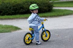 Learning To Ride On A First Bike Stock Images
