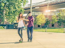 Learning to skateboarding Royalty Free Stock Images