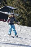 Learning to ski stock photo