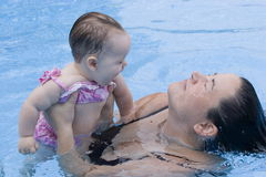 Learning to swim Stock Image