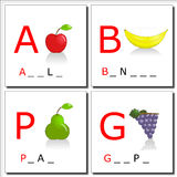 Learning to write 1. Illustrations of four fruits with first letter. You have to complete with the right letters Stock Photos